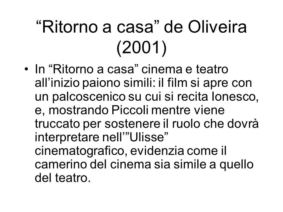 Ritorno a casa de Oliveira (2001) In Ritorno a casa cinema e teatro allinizio paiono simili: il film si apre con un palcoscenico su cui si recita Ione