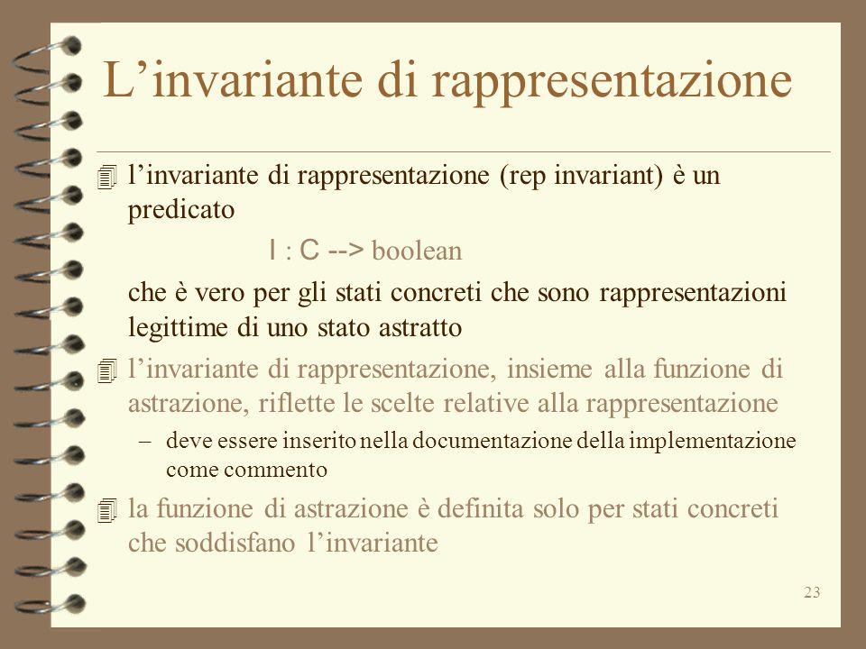 23 Linvariante di rappresentazione 4 linvariante di rappresentazione (rep invariant) è un predicato I : C --> boolean che è vero per gli stati concreti che sono rappresentazioni legittime di uno stato astratto 4 linvariante di rappresentazione, insieme alla funzione di astrazione, riflette le scelte relative alla rappresentazione –deve essere inserito nella documentazione della implementazione come commento 4 la funzione di astrazione è definita solo per stati concreti che soddisfano linvariante