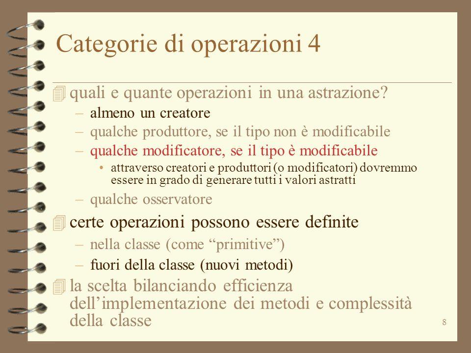 8 Categorie di operazioni 4 4 quali e quante operazioni in una astrazione.