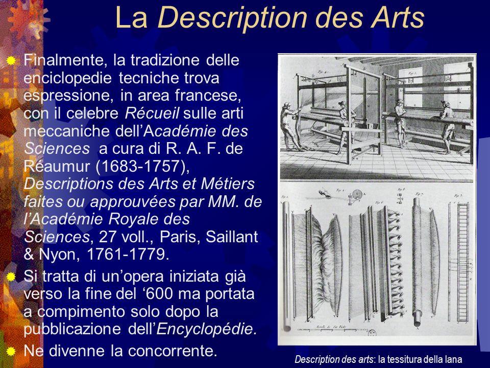 La Description des Arts Finalmente, la tradizione delle enciclopedie tecniche trova espressione, in area francese, con il celebre Récueil sulle arti m