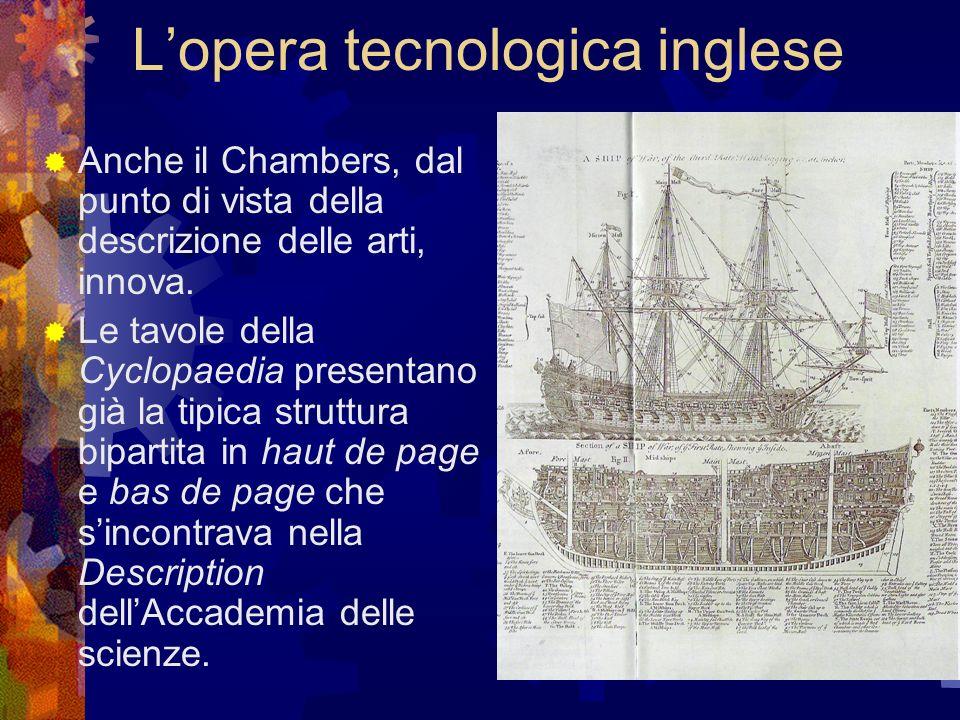 Lopera tecnologica inglese Anche il Chambers, dal punto di vista della descrizione delle arti, innova. Le tavole della Cyclopaedia presentano già la t