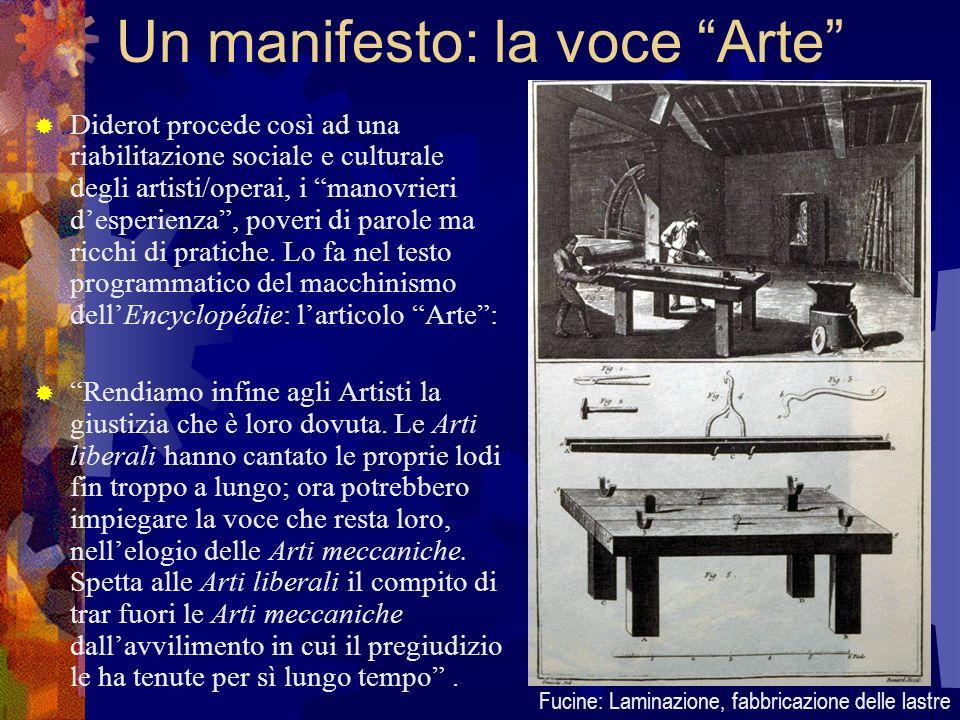 Un manifesto: la voce Arte Diderot procede così ad una riabilitazione sociale e culturale degli artisti/operai, i manovrieri desperienza, poveri di pa