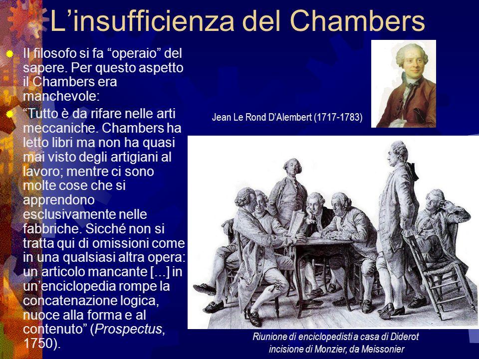 Linsufficienza del Chambers Il filosofo si fa operaio del sapere. Per questo aspetto il Chambers era manchevole: Tutto è da rifare nelle arti meccanic