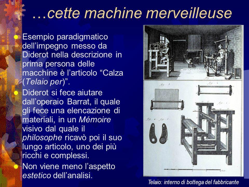 …cette machine merveilleuse Esempio paradigmatico dellimpegno messo da Diderot nella descrizione in prima persona delle macchine è larticolo Calza (Te