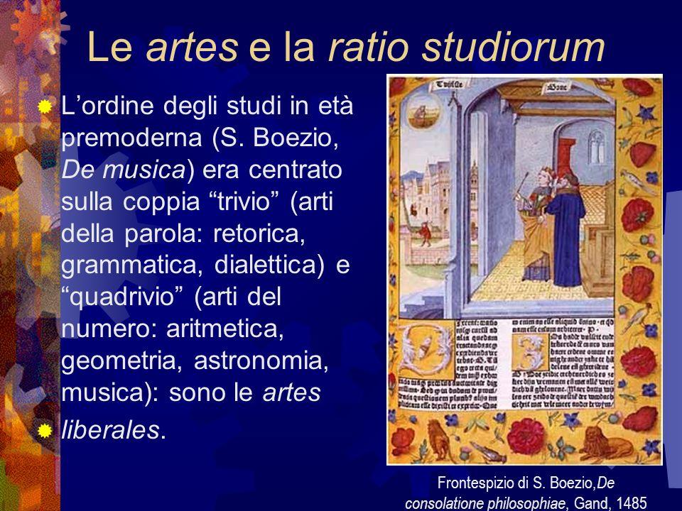 Le artes e la ratio studiorum Lordine degli studi in età premoderna (S. Boezio, De musica) era centrato sulla coppia trivio (arti della parola: retori