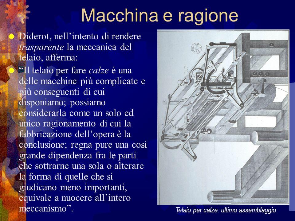 Macchina e ragione Diderot, nellintento di rendere trasparente la meccanica del telaio, afferma: Il telaio per fare calze è una delle macchine più com