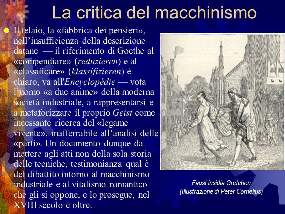 La critica del macchinismo Il telaio, la «fabbrica dei pensieri», nellinsufficienza della descrizione datane il riferimento di Goethe al «compendiare»