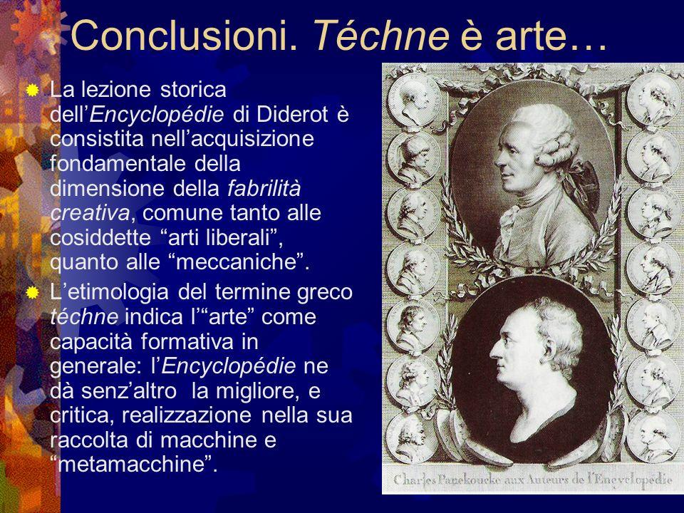 Conclusioni. Téchne è arte… La lezione storica dellEncyclopédie di Diderot è consistita nellacquisizione fondamentale della dimensione della fabrilità