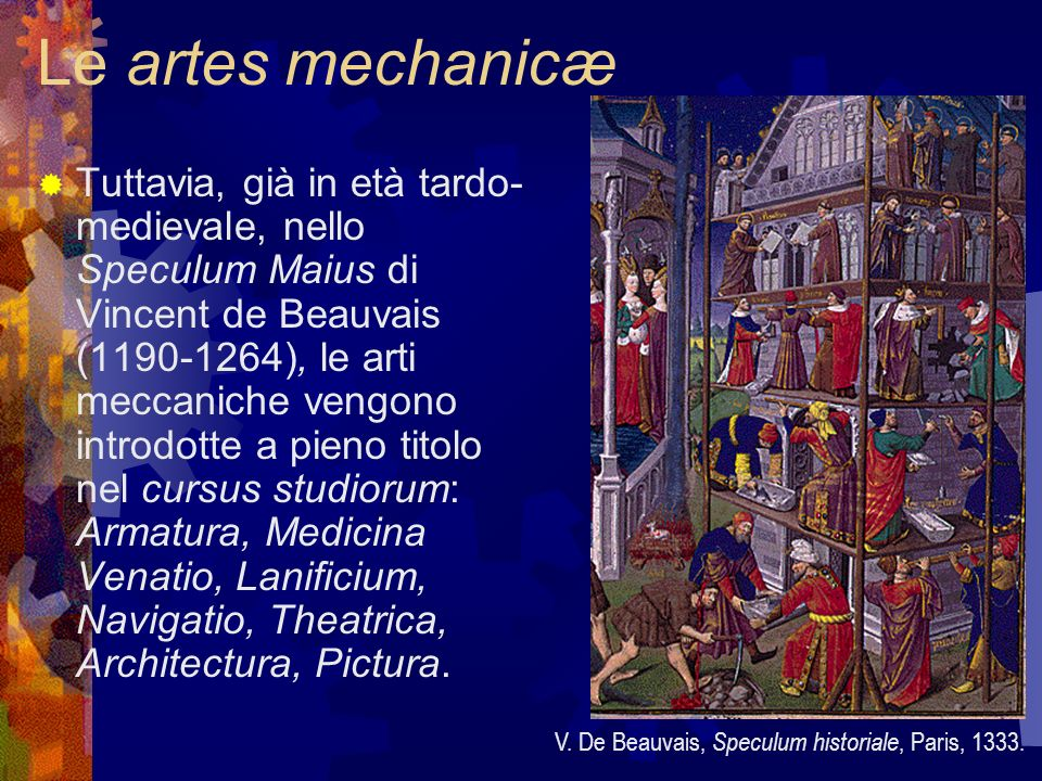 La visione della téchne Laspetto per il quale queste opere enciclopediche medievali rimanevano tuttavia manchevoli era lassenza di immagini: non si davano descrizioni dettagliate degli strumenti, delle loro funzioni tecniche e sociali.