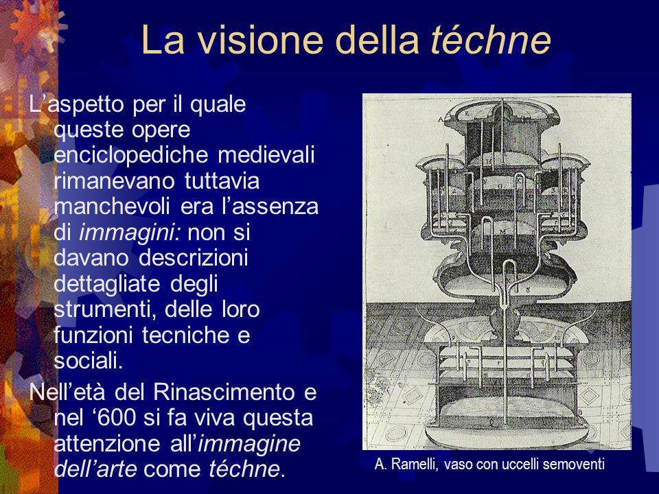 La visione della téchne Laspetto per il quale queste opere enciclopediche medievali rimanevano tuttavia manchevoli era lassenza di immagini: non si da