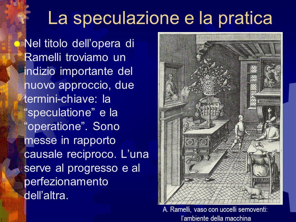 La speculazione e la pratica Nel titolo dellopera di Ramelli troviamo un indizio importante del nuovo approccio, due termini-chiave: la speculatione e