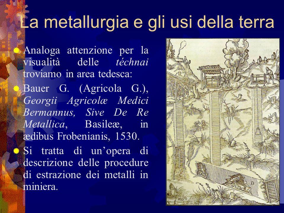 La metallurgia e gli usi della terra Analoga attenzione per la visualità delle téchnai troviamo in area tedesca: Bauer G. (Agricola G.), Georgii Agric