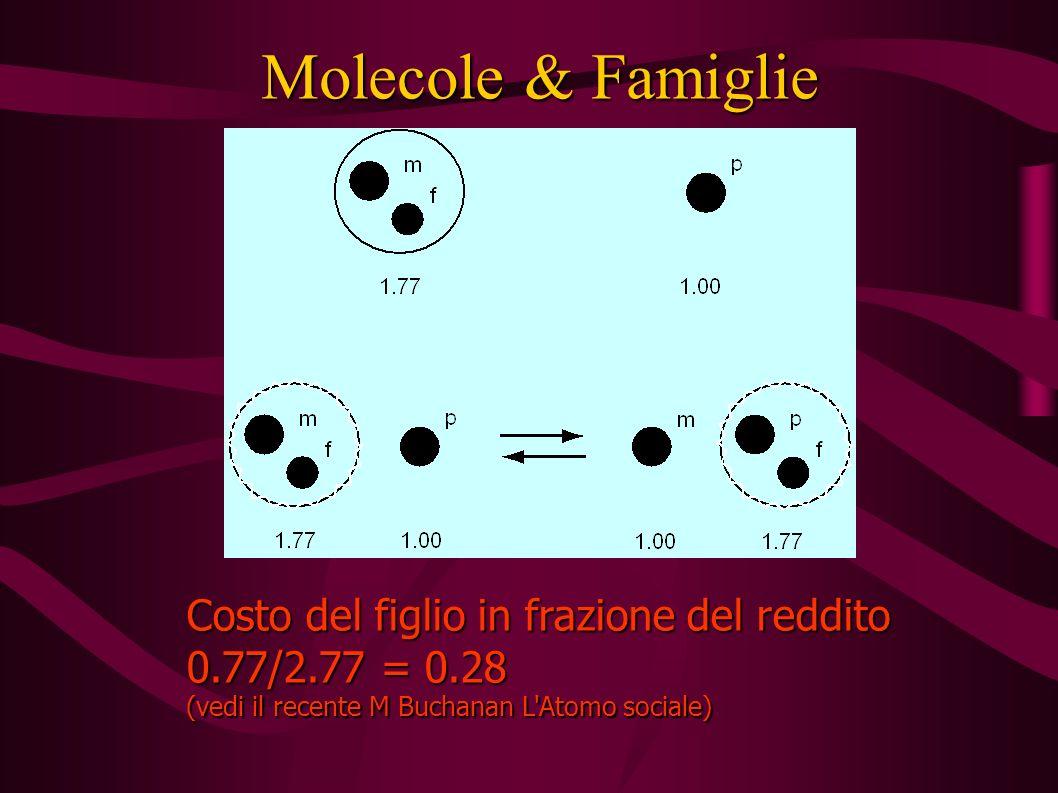Molecole & Famiglie Costo del figlio in frazione del reddito 0.77/2.77 = 0.28 (vedi il recente M Buchanan L Atomo sociale)