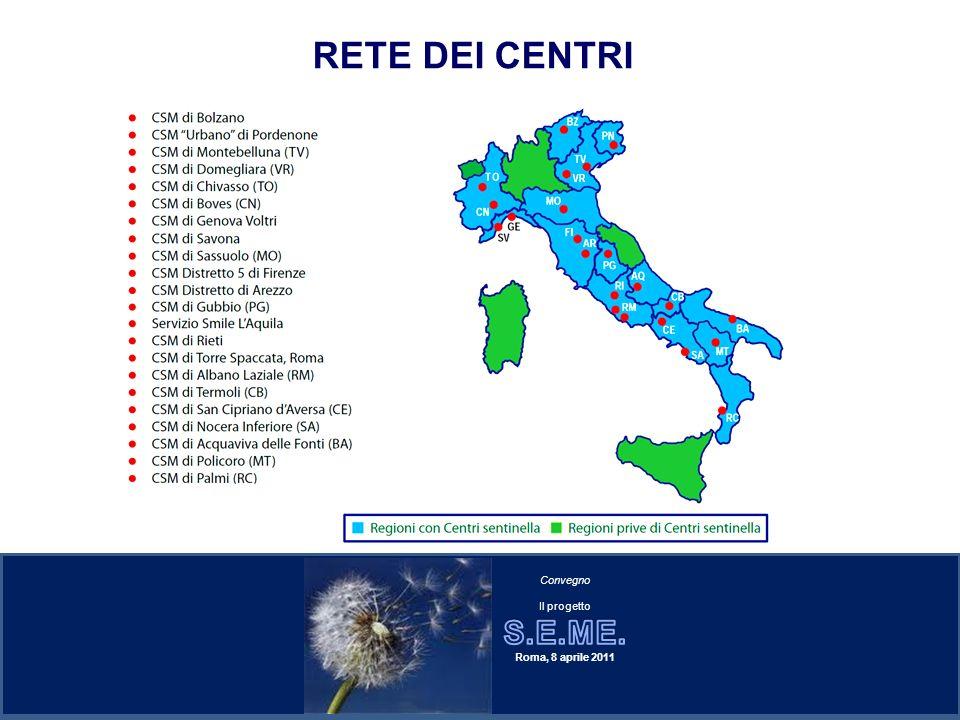 RETE DEI CENTRI (13 urbani, 4 semiurbani, e 5 rurali)