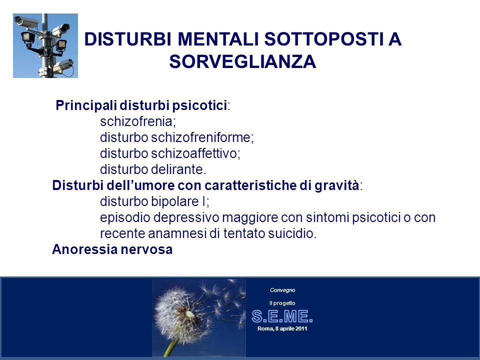 Principali disturbi psicotici: schizofrenia; disturbo schizofreniforme; disturbo schizoaffettivo; disturbo delirante. Disturbi dellumore con caratteri