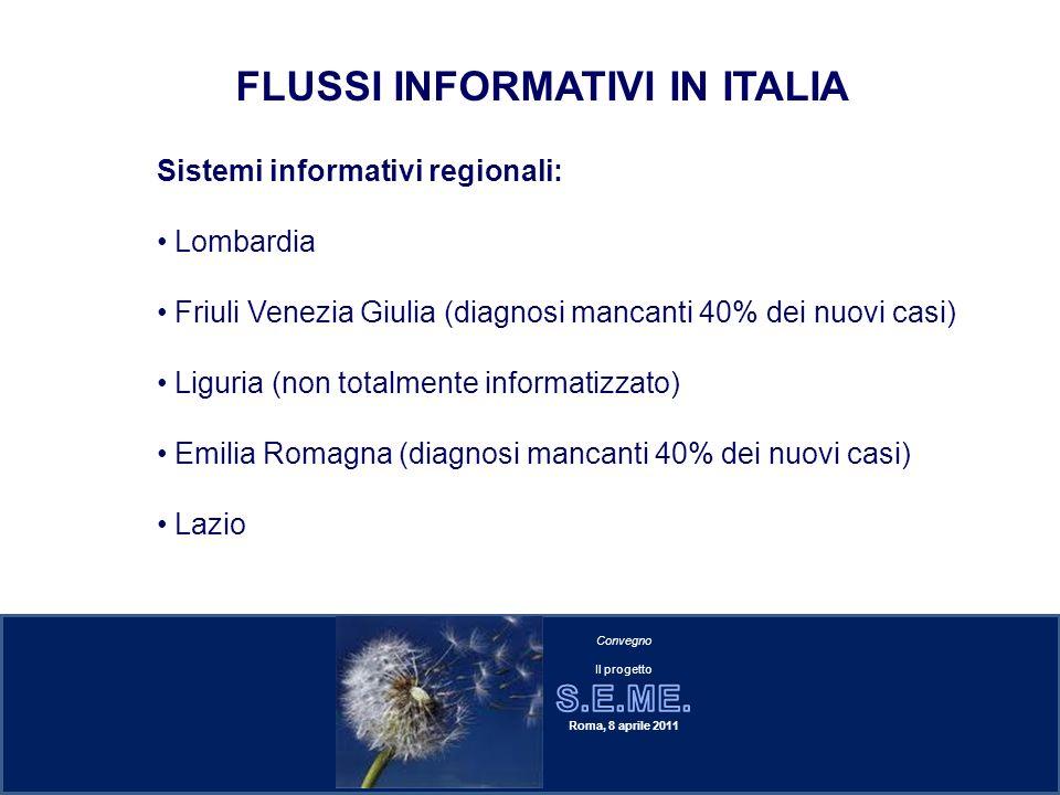 Sistemi informativi regionali: Lombardia Friuli Venezia Giulia (diagnosi mancanti 40% dei nuovi casi) Liguria (non totalmente informatizzato) Emilia R