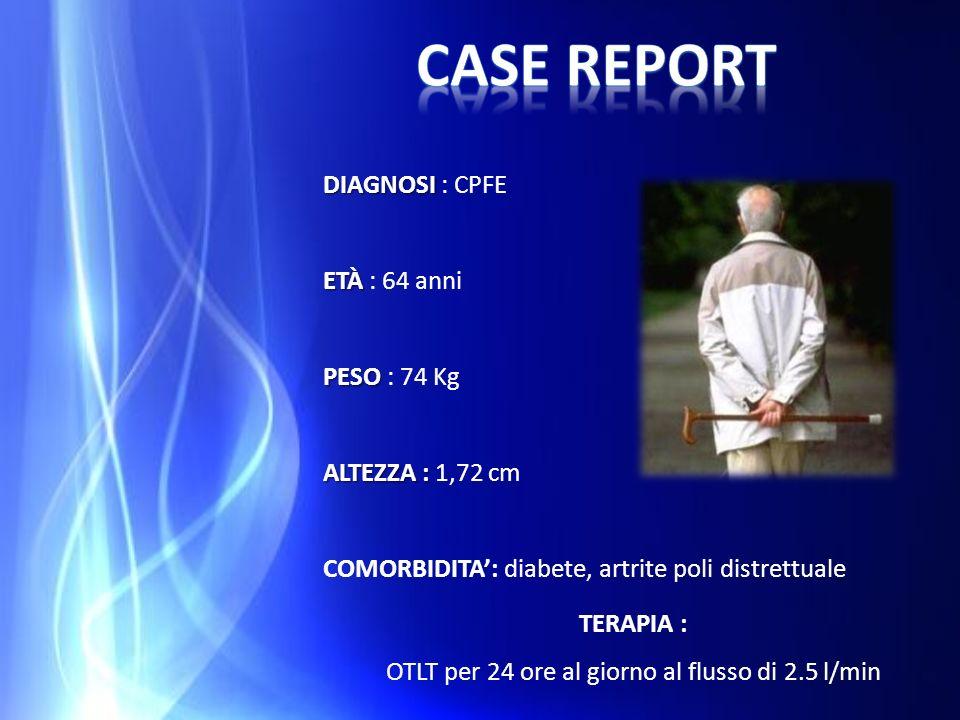 DIAGNOSI DIAGNOSI : CPFE ETÀ ETÀ : 64 anni PESO PESO : 74 Kg ALTEZZA : ALTEZZA : 1,72 cm COMORBIDITA: diabete, artrite poli distrettuale TERAPIA : OTL