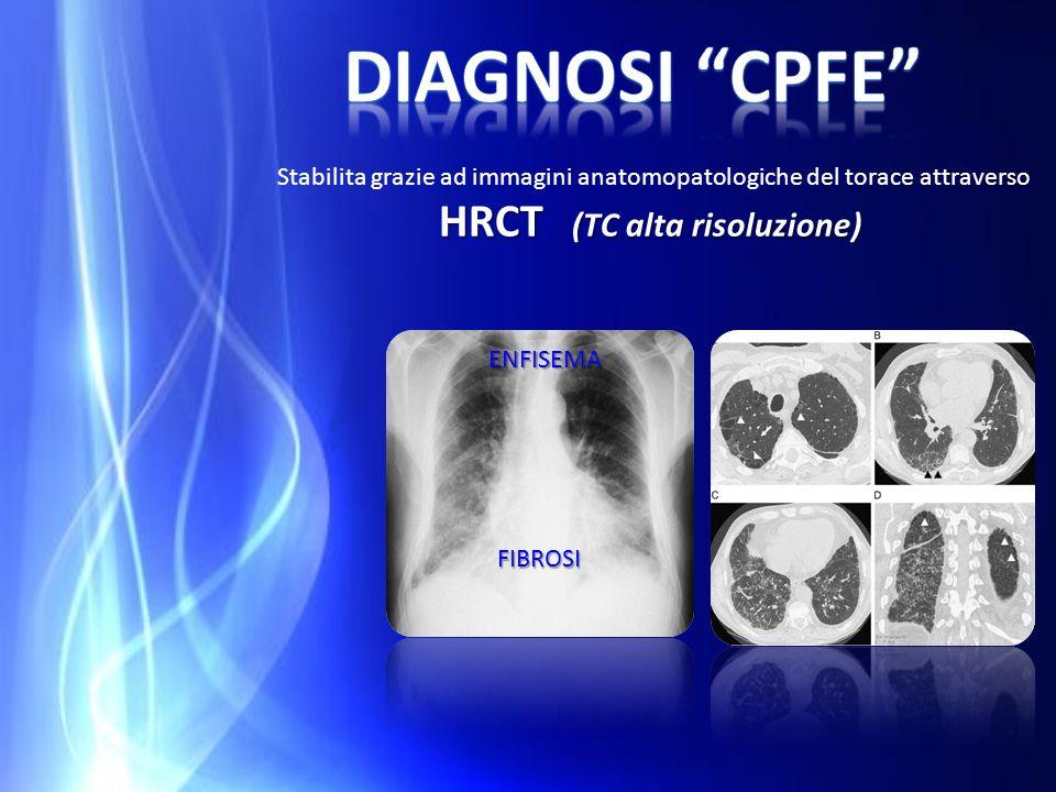 HRCT (TC alta risoluzione) Stabilita grazie ad immagini anatomopatologiche del torace attraverso HRCT (TC alta risoluzione) ENFISEMA FIBROSI