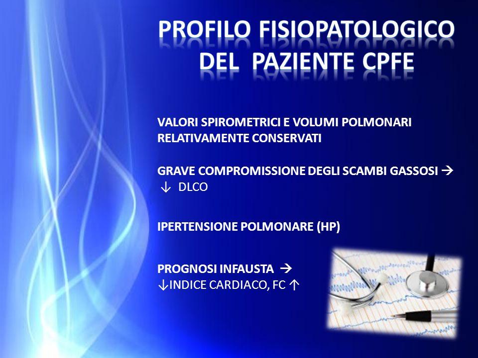 IPERTENSIONE POLMONARE (HP) VALORI SPIROMETRICI E VOLUMI POLMONARI RELATIVAMENTE CONSERVATI GRAVE COMPROMISSIONE DEGLI SCAMBI GASSOSI DLCO PROGNOSI IN
