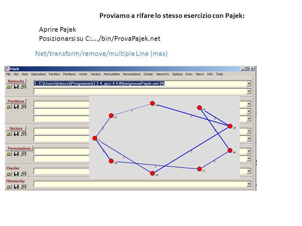 Proviamo a rifare lo stesso esercizio con Pajek: Aprire Pajek Posizionarsi su C:…./bin/ProvaPajek.net Net/transform/remove/multiple Line (max)