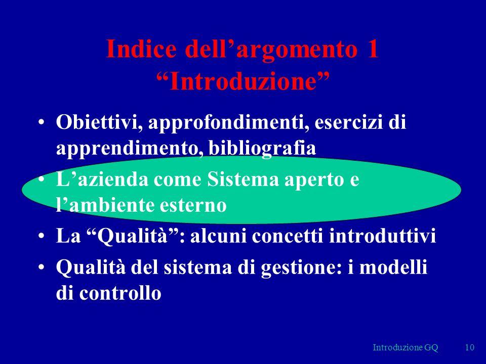 Introduzione GQ10 Indice dellargomento 1 Introduzione Obiettivi, approfondimenti, esercizi di apprendimento, bibliografia Lazienda come Sistema aperto