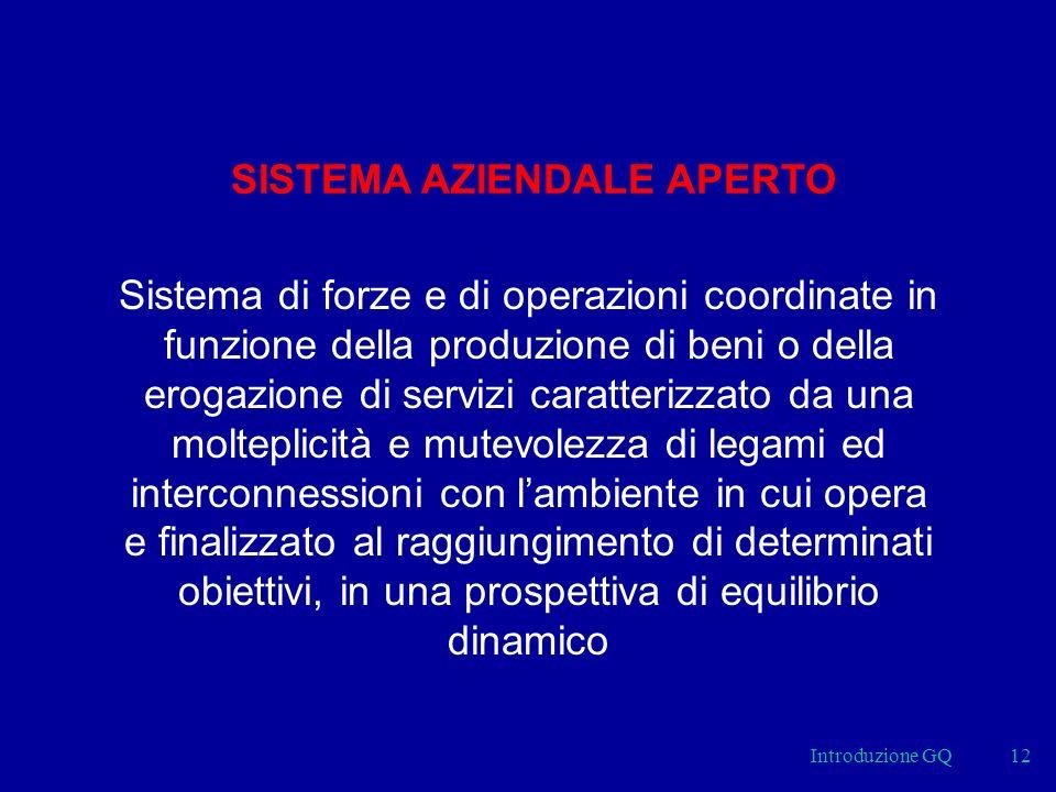Introduzione GQ12 SISTEMA AZIENDALE APERTO Sistema di forze e di operazioni coordinate in funzione della produzione di beni o della erogazione di serv