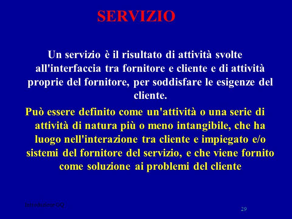 SERVIZIO Un servizio è il risultato di attività svolte all'interfaccia tra fornitore e cliente e di attività proprie del fornitore, per soddisfare le