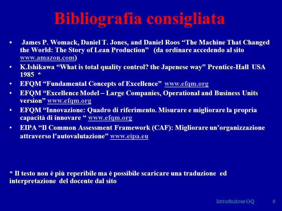 6 Bibliografia consigliata James P.Womack, Daniel T.