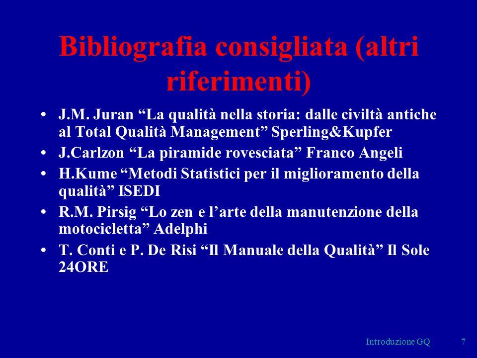 Introduzione GQ7 Bibliografia consigliata (altri riferimenti) J.M. Juran La qualità nella storia: dalle civiltà antiche al Total Qualità Management Sp
