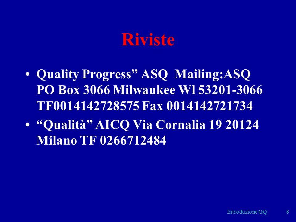 Introduzione GQ8 Riviste Quality Progress ASQ Mailing:ASQ PO Box 3066 Milwaukee Wl 53201-3066 TF0014142728575 Fax 0014142721734 Qualità AICQ Via Cornalia 19 20124 Milano TF 0266712484