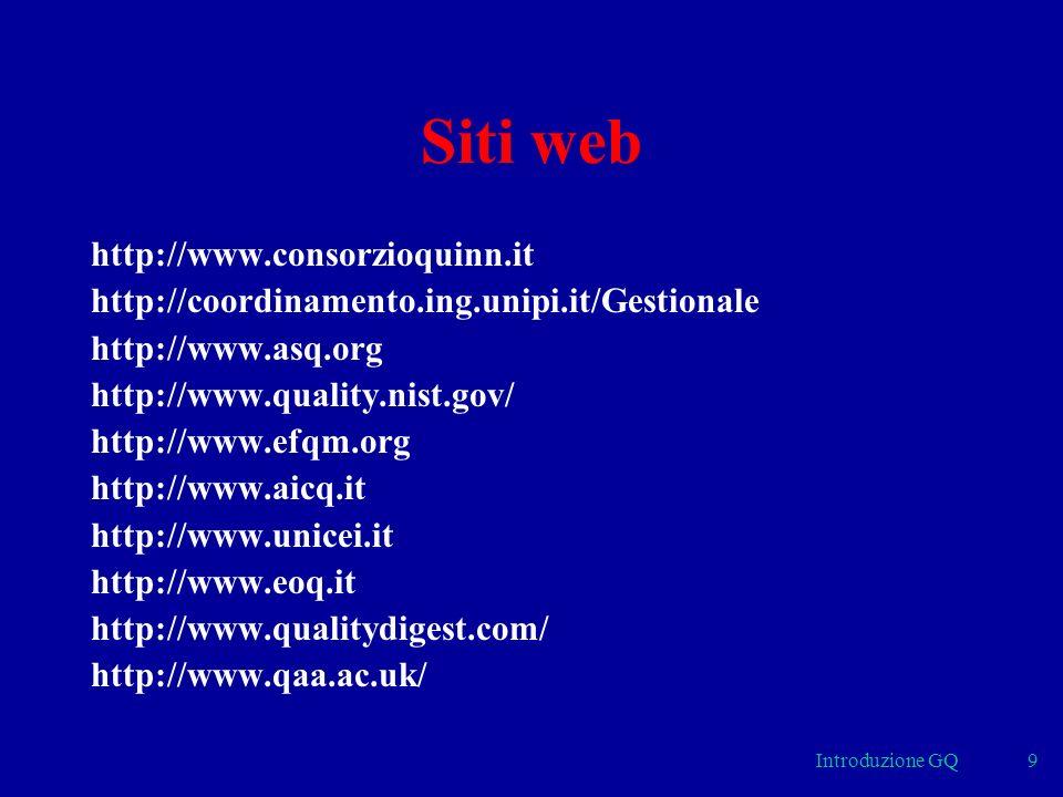 Introduzione GQ9 Siti web http://www.consorzioquinn.it http://coordinamento.ing.unipi.it/Gestionale http://www.asq.org http://www.quality.nist.gov/ http://www.efqm.org http://www.aicq.it http://www.unicei.it http://www.eoq.it http://www.qualitydigest.com/ http://www.qaa.ac.uk/