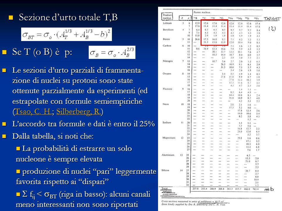 18 Sezione durto totale T,B Sezione durto totale T,B Se T (o B) è p: Se T (o B) è p: Le sezioni durto parziali di frammenta- zione di nuclei su protoni sono state ottenute parzialmente da esperimenti (ed estrapolate con formule semiempiriche (Tsao, C.