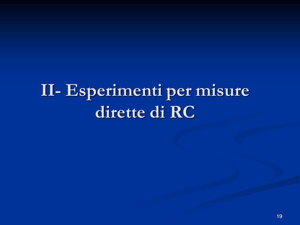 19 II- Esperimenti per misure dirette di RC