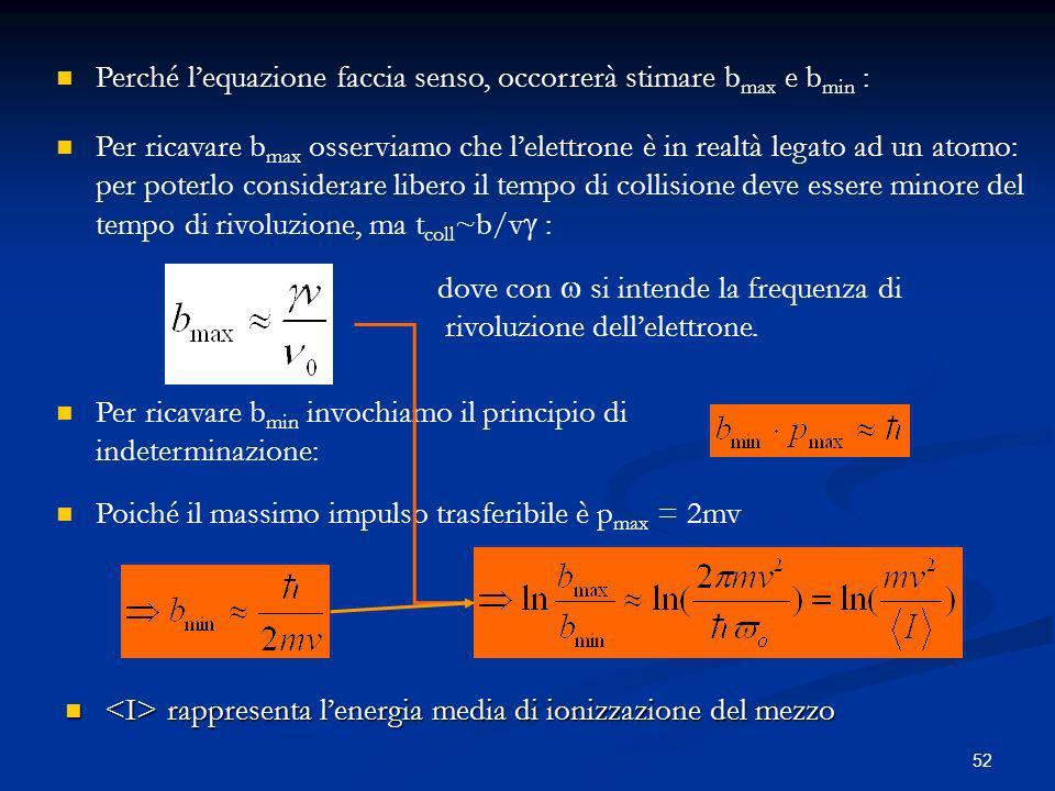 52 Perché lequazione faccia senso, occorrerà stimare b max e b min : Per ricavare b max osserviamo che lelettrone è in realtà legato ad un atomo: per poterlo considerare libero il tempo di collisione deve essere minore del tempo di rivoluzione, ma t coll ~b/v : dove con si intende la frequenza di rivoluzione dellelettrone.