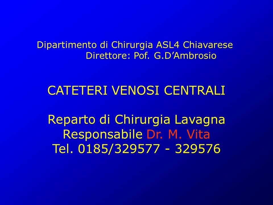 Dipartimento di Chirurgia ASL4 Chiavarese Direttore: Pof. G.DAmbrosio CATETERI VENOSI CENTRALI Reparto di Chirurgia Lavagna Responsabile Dr. M. Vita T