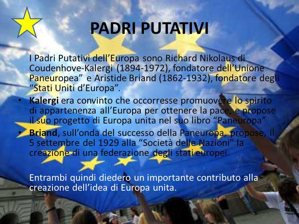PADRI PUTATIVI I Padri Putativi dellEuropa sono Richard Nikolaus di Coudenhove-Kalergi (1894-1972), fondatore dellUnione Paneuropea e Aristide Briand (1862-1932), fondatore degli Stati Uniti dEuropa.