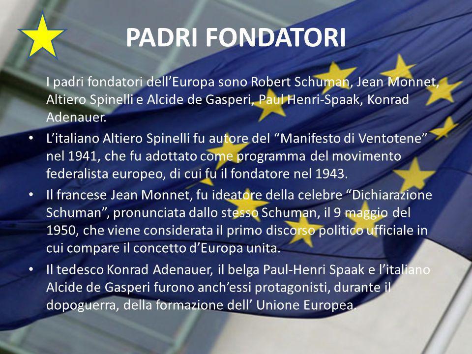 PADRI FONDATORI I padri fondatori dellEuropa sono Robert Schuman, Jean Monnet, Altiero Spinelli e Alcide de Gasperi, Paul Henri-Spaak, Konrad Adenauer.