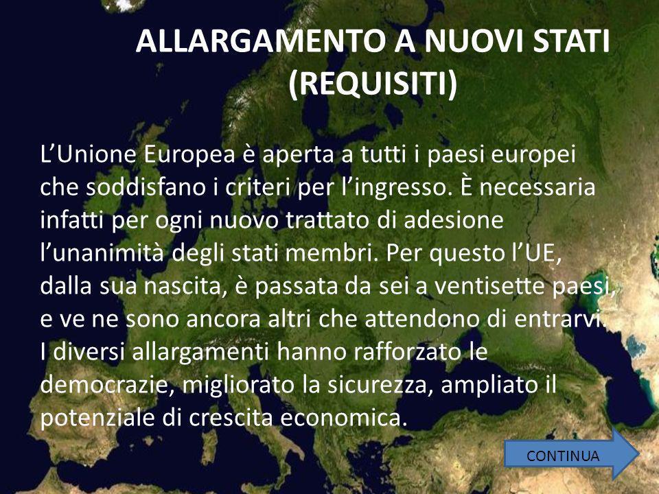ALLARGAMENTO A NUOVI STATI (REQUISITI) LUnione Europea è aperta a tutti i paesi europei che soddisfano i criteri per lingresso.