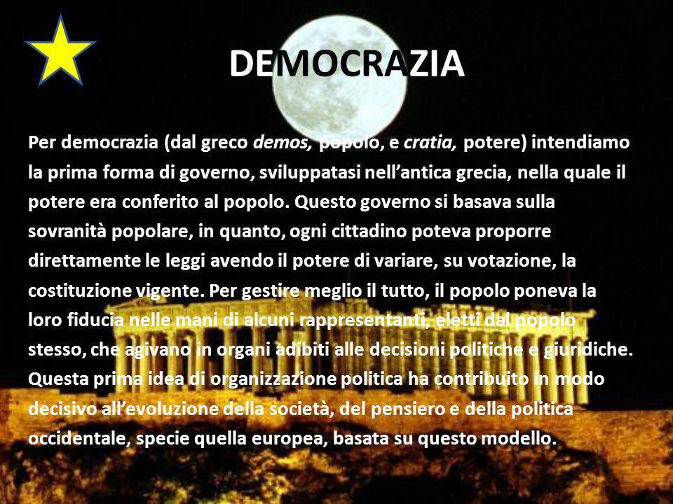 DEMOCRAZIA Per democrazia (dal greco demos, popolo, e cratia, potere) intendiamo la prima forma di governo, sviluppatasi nellantica grecia, nella quale il potere era conferito al popolo.