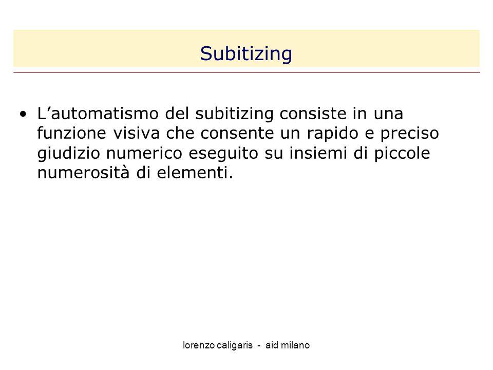 lorenzo caligaris - aid milano Lautomatismo del subitizing consiste in una funzione visiva che consente un rapido e preciso giudizio numerico eseguito su insiemi di piccole numerosità di elementi.