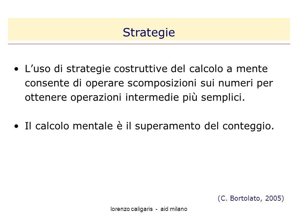 lorenzo caligaris - aid milano Luso di strategie costruttive del calcolo a mente consente di operare scomposizioni sui numeri per ottenere operazioni intermedie più semplici.