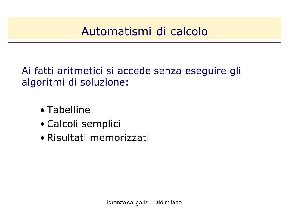 lorenzo caligaris - aid milano Ai fatti aritmetici si accede senza eseguire gli algoritmi di soluzione: Tabelline Calcoli semplici Risultati memorizzati Automatismi di calcolo