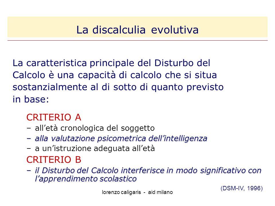 lorenzo caligaris - aid milano La caratteristica principale del Disturbo del Calcolo è una capacità di calcolo che si situa sostanzialmente al di sotto di quanto previsto in base: CRITERIO A –alletà cronologica del soggetto –alla valutazione psicometrica dellintelligenza –a unistruzione adeguata alletà CRITERIO B –il Disturbo del Calcolo interferisce in modo significativo con lapprendimento scolastico (DSM-IV, 1996) La discalculia evolutiva