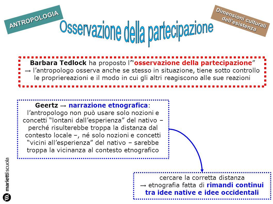 Dimensioni culturali dellesistenza ANTROPOLOGIA Barbara Tedlock ha proposto losservazione della partecipazione lantropologo osserva anche se stesso in