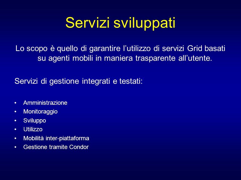 Servizi sviluppati Lo scopo è quello di garantire lutilizzo di servizi Grid basati su agenti mobili in maniera trasparente allutente. Servizi di gesti