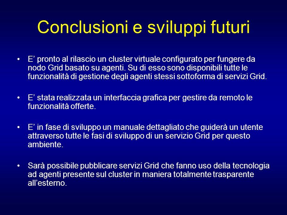 Conclusioni e sviluppi futuri E pronto al rilascio un cluster virtuale configurato per fungere da nodo Grid basato su agenti. Su di esso sono disponib