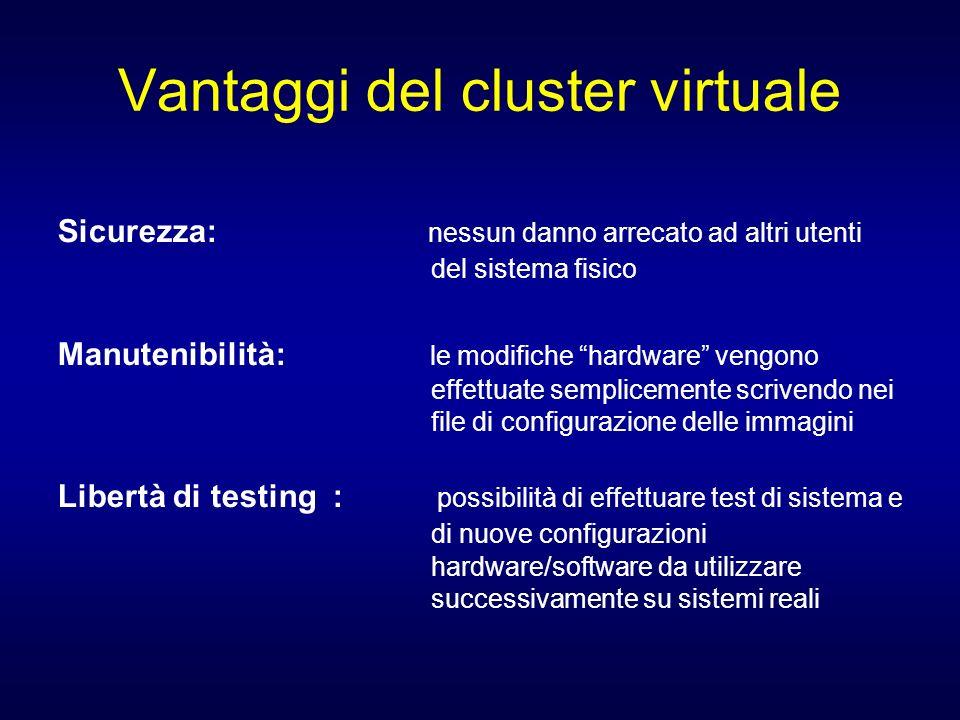 Vantaggi del cluster virtuale Sicurezza: nessun danno arrecato ad altri utenti del sistema fisico Manutenibilità: le modifiche hardware vengono effett