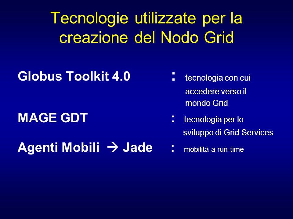 Tecnologie utilizzate per la creazione del Nodo Grid Globus Toolkit 4.0 : tecnologia con cui accedere verso il mondo Grid MAGE GDT : tecnologia per lo