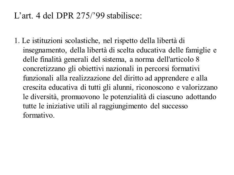 Lart. 4 del DPR 275/99 stabilisce: 1. Le istituzioni scolastiche, nel rispetto della libertà di insegnamento, della libertà di scelta educativa delle