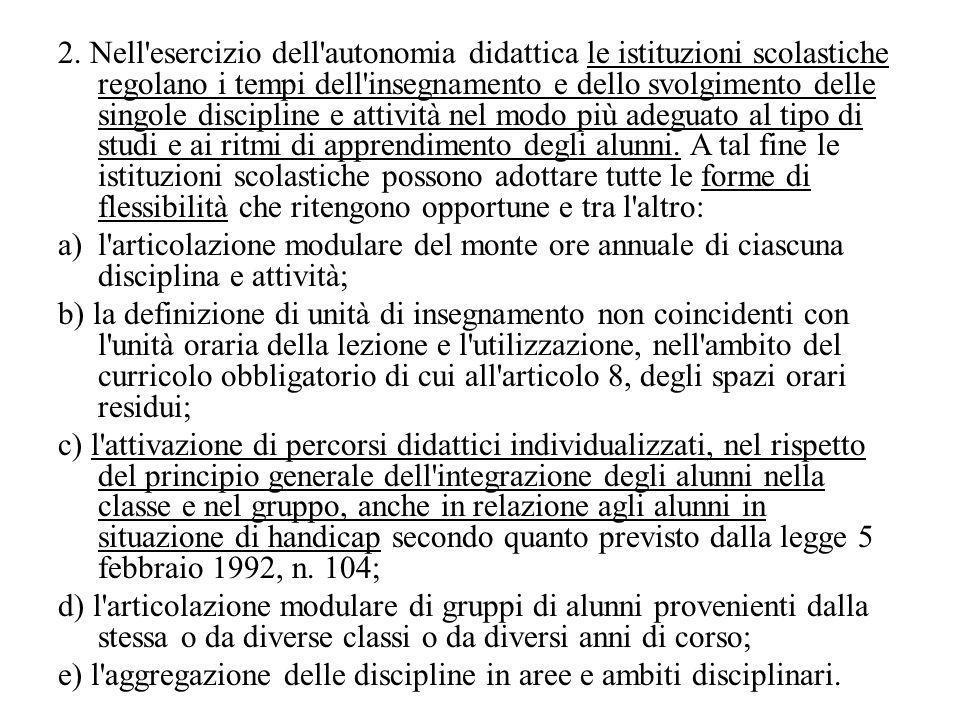 2. Nell'esercizio dell'autonomia didattica le istituzioni scolastiche regolano i tempi dell'insegnamento e dello svolgimento delle singole discipline